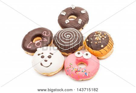 creative dessert donuts on a white background