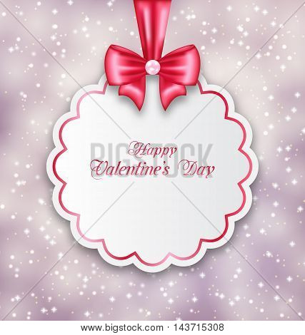 Illustration Glowing Background with Congratulation Paper Card for Happy Valentine Day - Vector