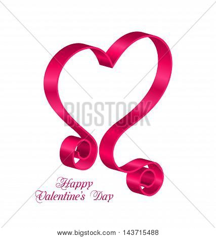 Illustration Pink Tape Ribbon in Form Heart for Happy Valentines Day. Isolated on White Background. Looping Ribbon - Vector