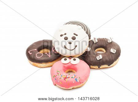 creative donuts cake on a white background