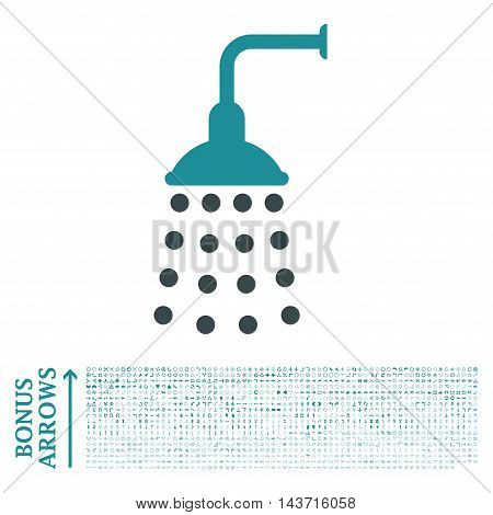 Shower icon with 1200 bonus arrow and direction pictograms. Vector illustration style is flat iconic bicolor symbols, soft blue colors, white background.
