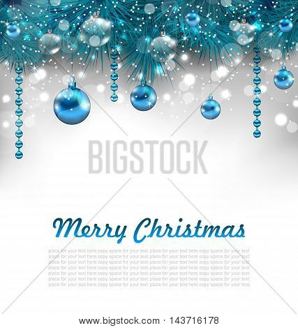 Illustration Traditional Glowing Background with Christmas Decoration - Vector