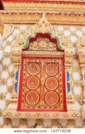 Thai art window of temple church ,Thailand