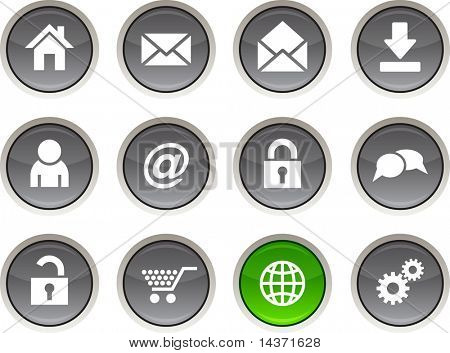web glossy icons. Vector buttons