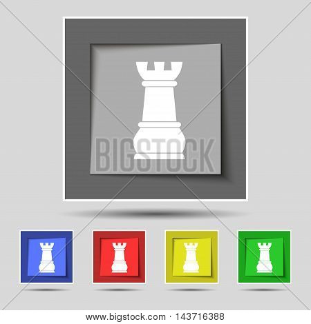 Chess Rook Icon Sign On Original Five Colored Buttons. Vector