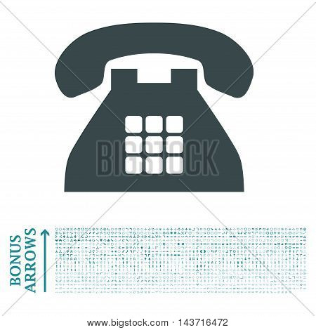Tone Phone icon with 1200 bonus arrow and navigation pictograms. Vector illustration style is flat iconic bicolor symbols, soft blue colors, white background.