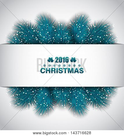 Illustration Christmas Border with Blue Fir Branches - Vector