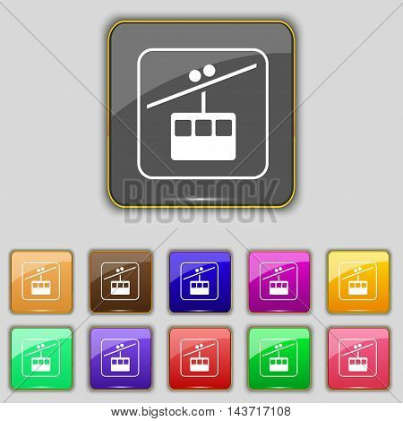 Cable Car Line Icon Sign. Set With Eleven Colored Buttons For Your Site. Vector