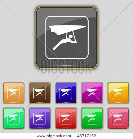 Hang-gliding Icon Sign. Set With Eleven Colored Buttons For Your Site. Vector