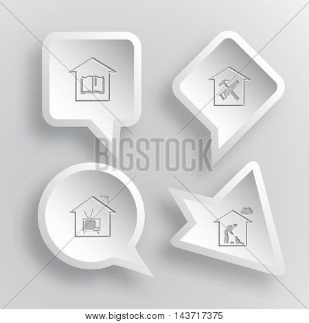 4 images: library, workshop, home tv, home cat. Home set. Paper stickers. Vector illustration icons.