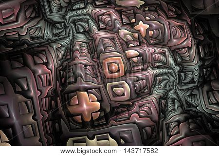 Abstract plastic puzzles on black background. Fractal design in faded rose grey and orange colors. 3D rendering.
