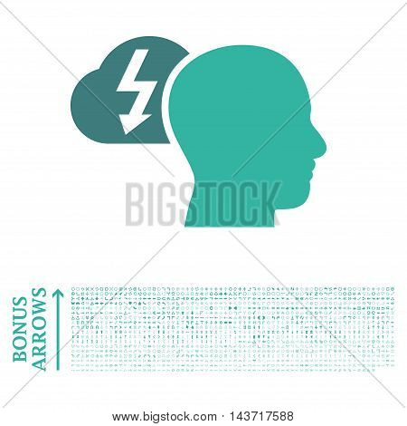 Brainstorming icon with 1200 bonus arrow and navigation pictograms. Vector illustration style is flat iconic bicolor symbols, cobalt and cyan colors, white background.