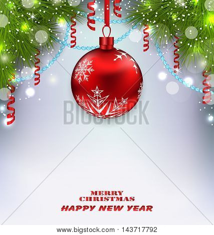 Illustration Traditional Decoration with Fir Branches and Glass Ball for Merry Christmas and Happy New Year - Vector
