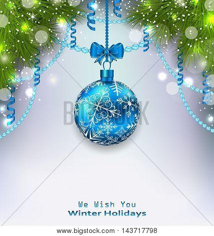Illustration Christmas Glass Ball, Fir Branches, Streamer - Vector