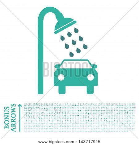 Car Shower icon with 1200 bonus arrow and direction pictograms. Vector illustration style is flat iconic bicolor symbols, cobalt and cyan colors, white background.