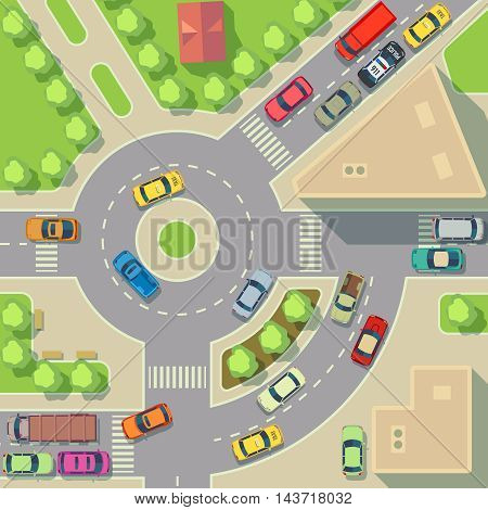 City map with top view cars and houses. Street with active traffic transport, vector illustration