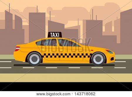 Taxi sedan car flat vector illustration. Transport service for passenger