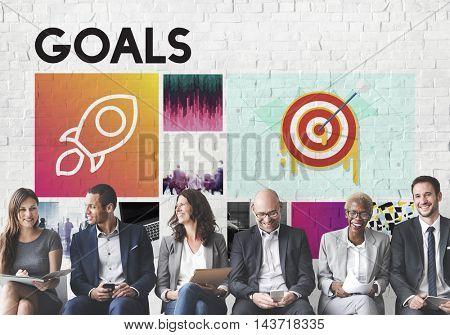 Launch Target Goals Rocket ship Graphic Concept