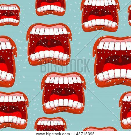 Yells Lips Seamless Pattern. Call Background. Aggressive Emotion Texture. Open Your Mouth And Tongue