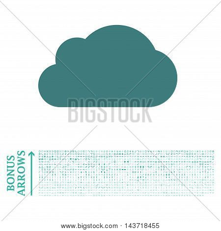 Cloud icon with 1200 bonus arrow and navigation pictograms. Vector illustration style is flat iconic bicolor symbols, cobalt and cyan colors, white background.