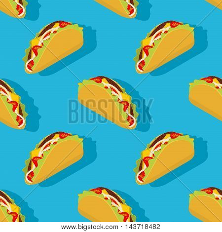 Taco Seamless Pattern. Traditional Mexican Food Background. Corn Tortilla And Bow Ornament. Tomato A