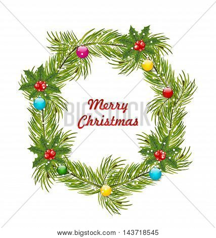 Illustration Christmas Wreath with Holly Berries and Colorful Balls Isolated on White Background - Vector