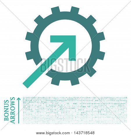 Cog Integration icon with 1200 bonus arrow and navigation pictograms. Vector illustration style is flat iconic bicolor symbols, cobalt and cyan colors, white background.
