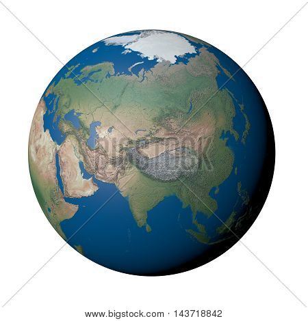 The Far East on Earth - White Background, 3D Illustration