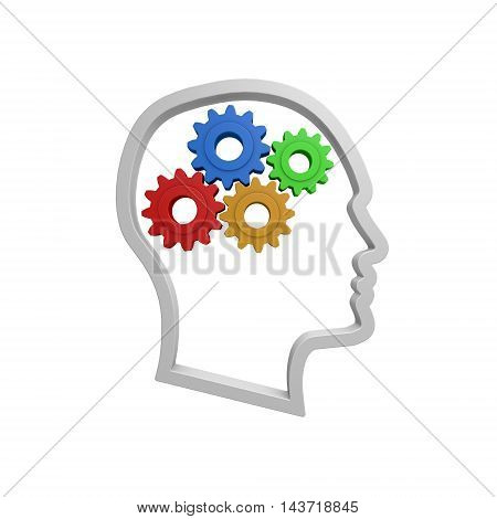 D thinking concept illustration on white background, 3D Illustration