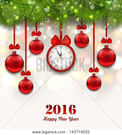 Illustration New Year Magic Background with Clock, Fir Twigs and Glass Balls - Vector