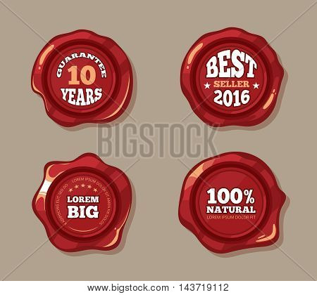 Premium labels on wax seal stamps vector illustration. Vintage badge in red color