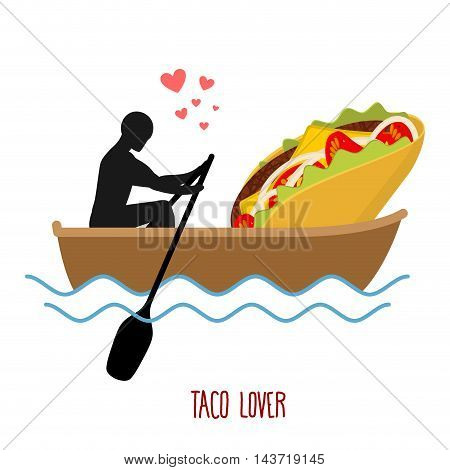 Lover Taco. Man And Fastfood And Ride In Boat. Lovers Of Sailing. Man Rolls Mexican Food On Gondola.