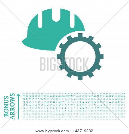Development Hardhat icon with 1200 bonus arrow and direction pictograms. Vector illustration style is flat iconic bicolor symbols, cobalt and cyan colors, white background.