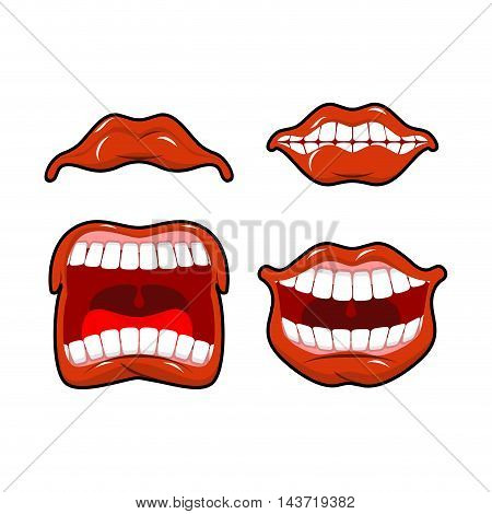 Lips Set Of Emotions. Shouts And Joy. Shouting And Laughing. Scream And Dissatisfied. Cry And Laugh.