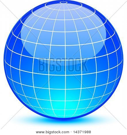 Blue glossy globe. Vector illustration.