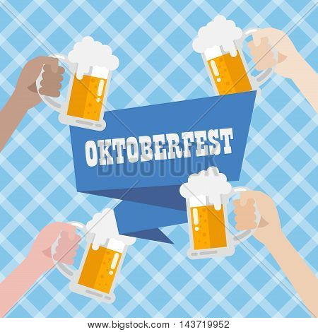 Oktoberfest with blue background pattern. vector illustration
