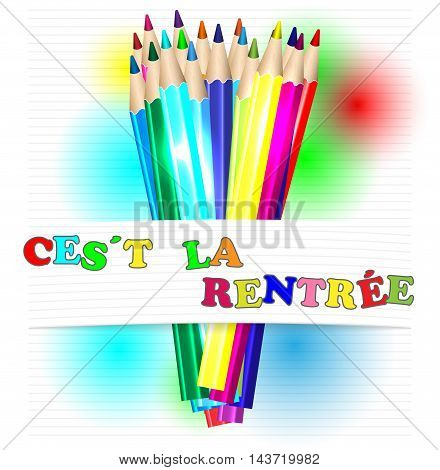Back to school in french and color pencils vector illustration