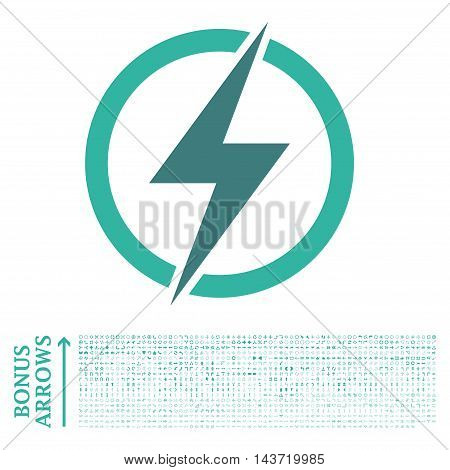 Electricity icon with 1200 bonus arrow and navigation pictograms. Vector illustration style is flat iconic bicolor symbols, cobalt and cyan colors, white background.