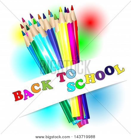 Back to school and color pencils vector illustration