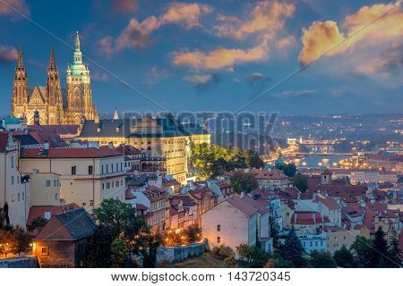 Panoramic view of Prague at sundown time and Famous Saint Vitus' Cathedral, Czech, Europe