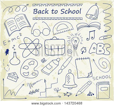 Back to School hand drawn set of vector sketches. Vintage design with various school stuff illustration.