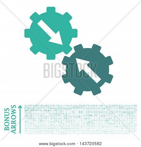Gear Integration icon with 1200 bonus arrow and navigation pictograms. Vector illustration style is flat iconic bicolor symbols, cobalt and cyan colors, white background.