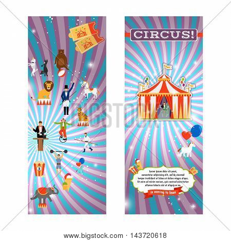 Vintage circus flyer template with tent and circus elements. Vector illustration