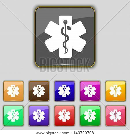 Medicine Icon Sign. Set With Eleven Colored Buttons For Your Site. Vector
