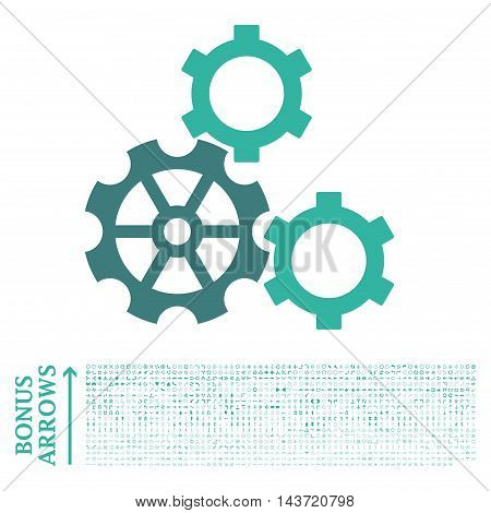Gears icon with 1200 bonus arrow and navigation pictograms. Vector illustration style is flat iconic bicolor symbols, cobalt and cyan colors, white background.