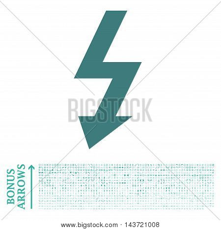 High Voltage icon with 1200 bonus arrow and direction pictograms. Vector illustration style is flat iconic bicolor symbols, cobalt and cyan colors, white background.