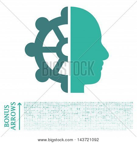 Intellect icon with 1200 bonus arrow and direction pictograms. Vector illustration style is flat iconic bicolor symbols, cobalt and cyan colors, white background.