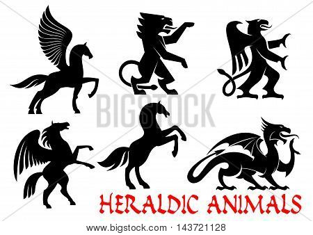 Heraldic animals icons. Pegasus, Unicorn, Lion, Eagle, Horse, Dragon silhouette outline for tattoo, heraldry, tribal shield emblem Fantasy gothic creatures