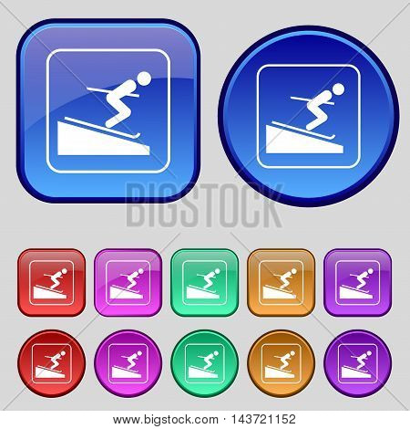 Skier Icon Sign. A Set Of Twelve Vintage Buttons For Your Design. Vector