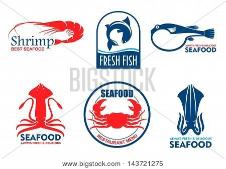 Seafood icons. Vector fish food products labels. Shrimp, squid, crab elements for signboard, menu, restaurant, shop, cafe, market merchandising Asian nordic and mediterranean cuisine